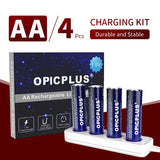 OpicPlus AA Size Button Top 2800mWh 1.5V Battery Kit with charger - 4 Pack