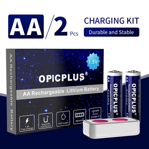 OpicPlus AA Size Button Top 2800mWh 1.5V Battery Kit with charger - 2 Pack
