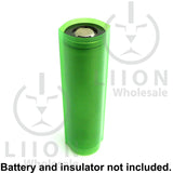 Transparent Green 18650 battery wrap on battery with insulator