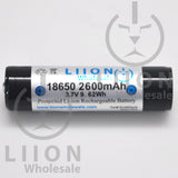 Protected 2600mAh 10A 18650 Button Top Battery - Side