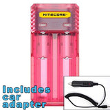 Nitecore Q2 2-bay Digital Lithium Ion Battery Charger w/ Car Adapter - Pink