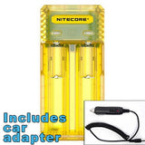 Nitecore Q2 2-bay Digital Lithium Ion Battery Charger w/ Car Adapter - Yellow