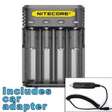Nitecore Q4 4-bay Digital Lithium Ion Battery Charger w/ Car Adapter - Black