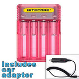 Nitecore Q4 4-bay Digital Lithium Ion Battery Charger w/ Car Adapter - Pink