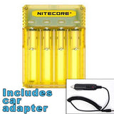 Nitecore Q4 4-bay Digital Lithium Ion Battery Charger w/ Car Adapter - Yellow