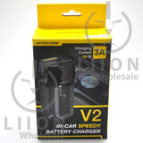 Nitecore V2 2-Bay In-Car Lithium Ion Battery Charger - Box