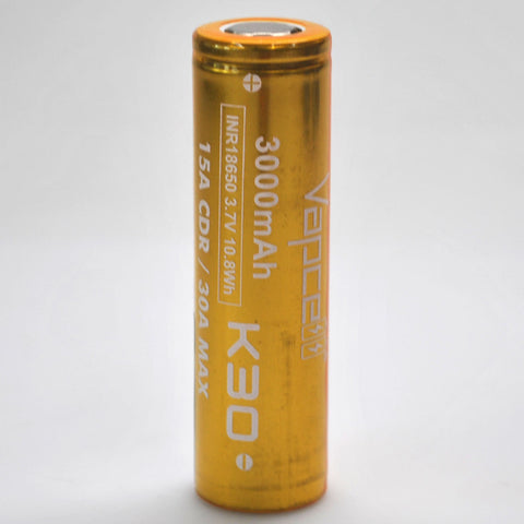 Vapcell K30 18650 15A/30A Flat Top 3000mah Battery