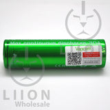 Vapcell 20700 Green/White 30A Flat Top 3500mAh Battery - Side