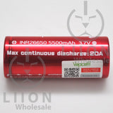Vapcell 26650 20A Flat Top 5500mAh Battery - Side