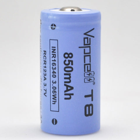Vapcell T8 16340 3A Button Top 850mAh Battery