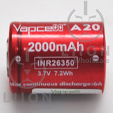 Vapcell A20 26350 6A Flat Top 2000mah Battery - Side