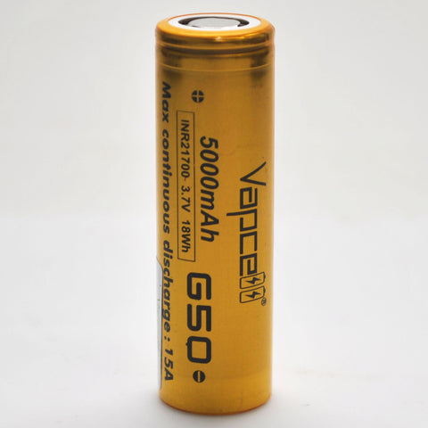 Vapcell G50 21700 15A Flat Top 5000mah Battery