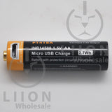 Protected Vapcell P1418A 14500 1.5A Button Top 1800mah 1.5V USB Battery - Side