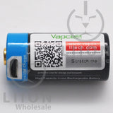 Protected Vapcell P1608A 16340 3A Button Top 800mah USB Battery - Side