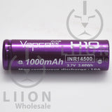 Vapcell H10 14500 Purple/White 10A Flat Top 1000mAh Battery - Side