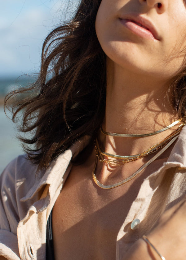 Gold Necklace - 18kt Gold Filled Thick Flat Snake Chain Necklace - Nui - Ke Aloha Jewelry