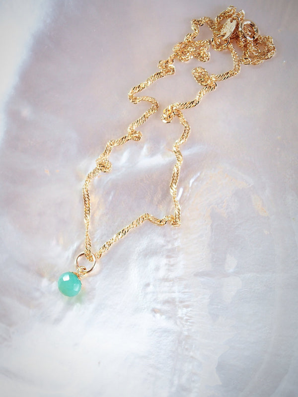 Gold Necklace - Aqua Chrysoprase Delicate Gold Chain Necklace - Hokupa'a - Ke Aloha Jewelry