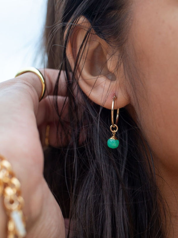 Earrings - Aqua Chrysoprase Gold Hoop Earrings - Hokupa'a - Ke Aloha Jewelry