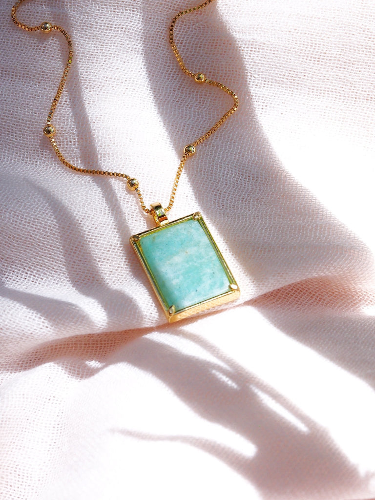 Gold Necklace - Aquamarine Gemstone Gold Pendant Necklace - Kai - ke aloha jewelry