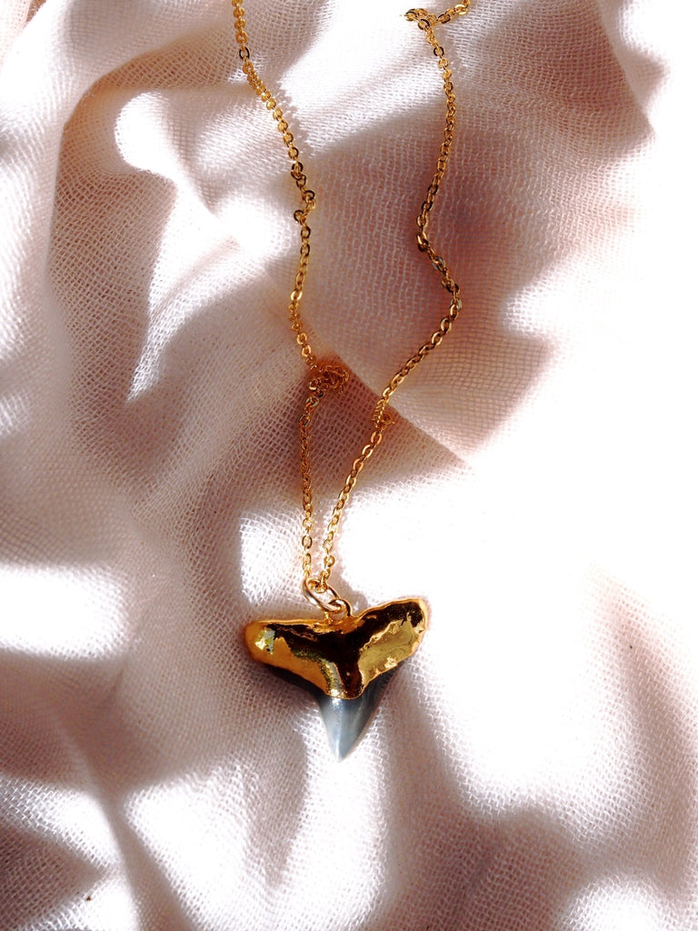 Gold Necklace - Black Gold Dipped Shark Tooth Necklace - Mano Niho Kahi Black - Ke Aloha Jewelry