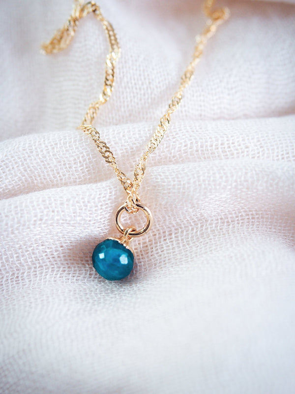 Gold Necklace - Blue Apatite Delicate Gold Chain Necklace - Maka'alohi - Ke Aloha Jewelry