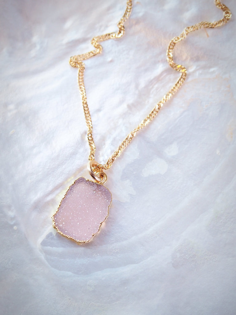 Gold Necklace - Blush Pink Druzy Delicate Gold Chain Necklace - Kala'i - Ke Aloha Jewelry