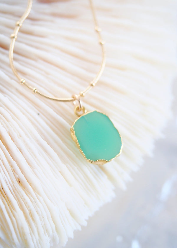 Gold Necklace - Chrysoprase Gemstone Gold Pendant Necklace - Anuhea - Ke Aloha Jewelry