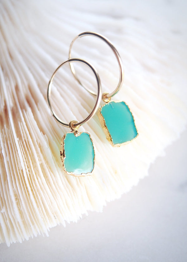 Earrings - Chrysoprase Gold Medium Hoop Earrings - Anuhea - Ke Aloha Jewelry