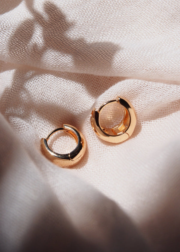 Earrings - Classic Dome Drop Gold Filled Huggie Hoop Earrings - Maluhia - Ke Aloha Jewelry