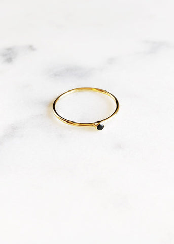Dainty Black Cubic Zirconia Gold Stacking Ring - Kalama - Ke Aloha Jewelry