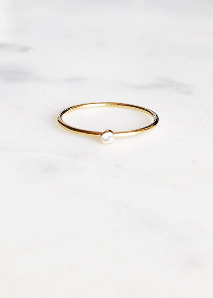 Dainty Clear Cubic Zirconia Gold Stacking Ring - Kalala - Ke Aloha Jewelry