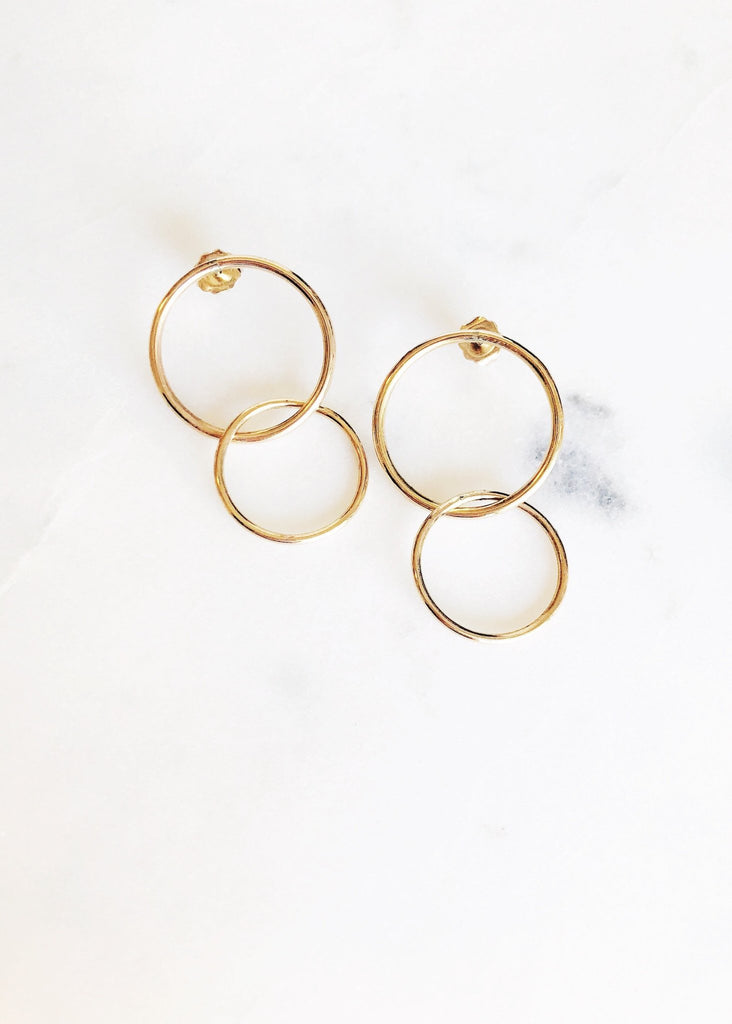 Double Gold Hoop Stud Earrings - Lilinoe - Ke Aloha Jewelry