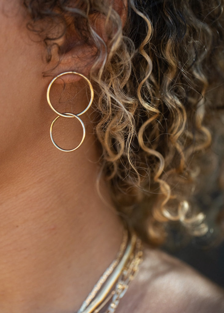 Earrings - Double Gold Hoop Stud Earrings - Lilinoe - Ke Aloha Jewelry