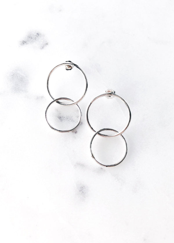 Double Silver Hoop Stud Earrings - Lilinoe - Ke Aloha Jewelry