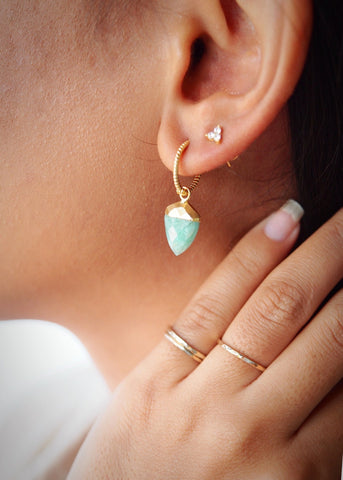 Earrings - Gold Amazonite Shield Hoop Earrings - Me'e - Ke Aloha Jewelry