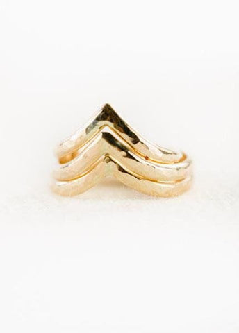Gold Chevron Stacking Ring - Ano'i - Ke Aloha Jewelry