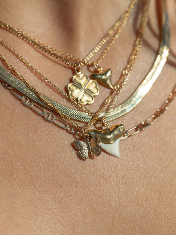 Gold Necklace - Gold Dipped White Shark Tooth Necklace - Mano Niho Kahi - ke aloha jewelry