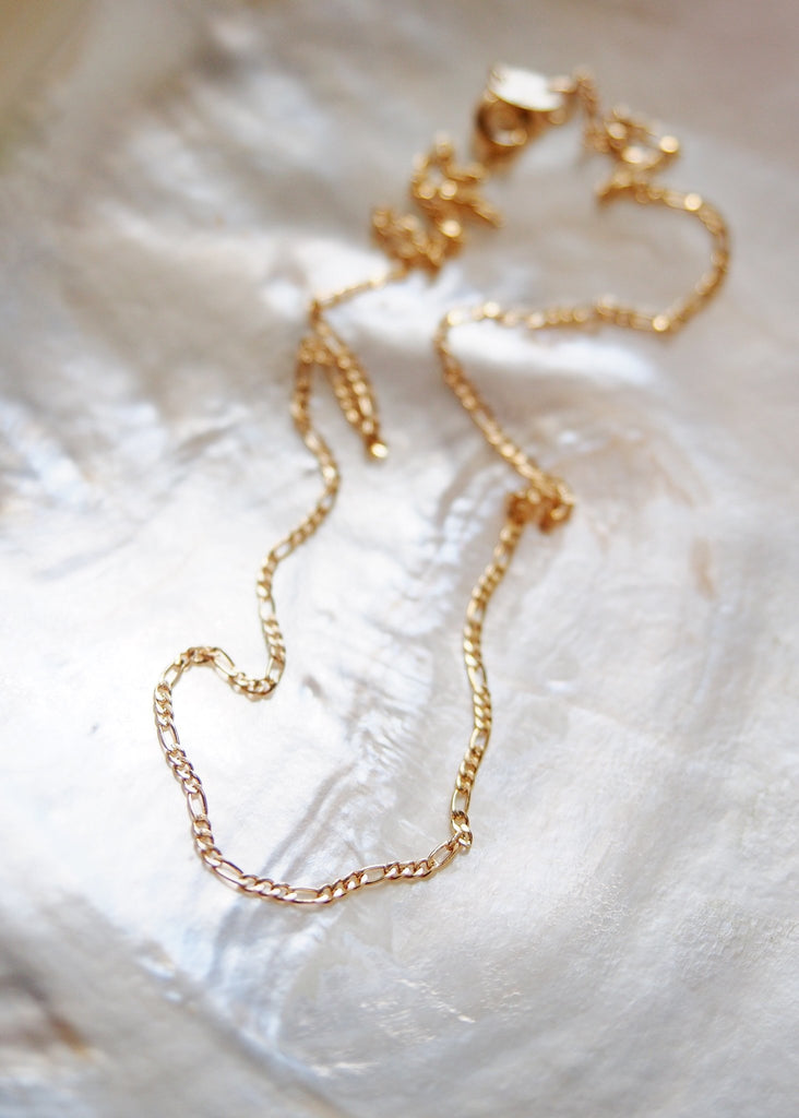 Gold Necklace - Gold Filled Dainty Figaro Chain Necklace - Halani - Ke Aloha Jewelry