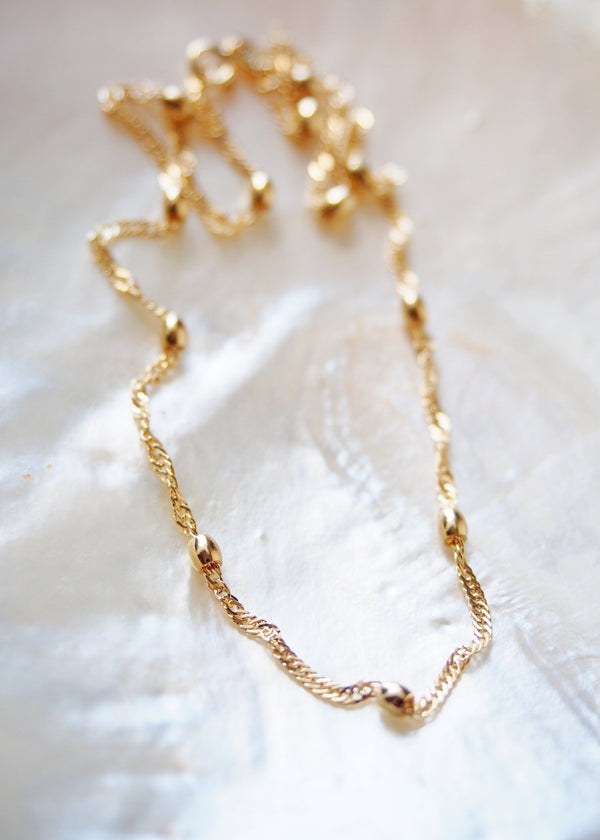 Gold Necklace - Gold Filled Ellipses Singapore Chain Necklace - Makali'i - Ke Aloha Jewelry