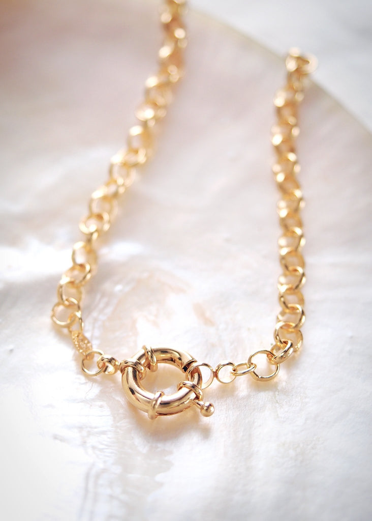 Gold Necklace - Gold Filled Heavy Rolo Chain Necklace with Focal Clasp - Lilo - Ke Aloha Jewelry