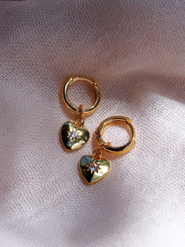 Earrings - Gold Filled Huggie Hoop Earrings with CZ Heart Charms - Kamakana - ke aloha jewelry