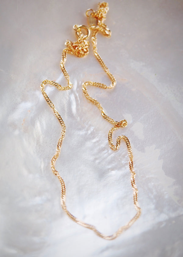 Gold Necklace - Gold Filled Singapore Chain Necklace - Luana - Ke Aloha Jewelry
