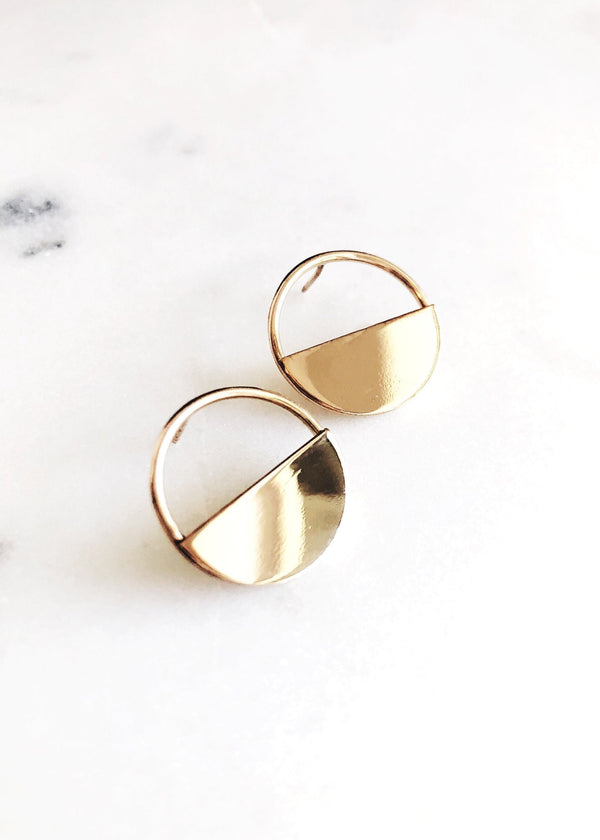 Gold Hoop Disc Stud Earrings - Mele - Ke Aloha Jewelry