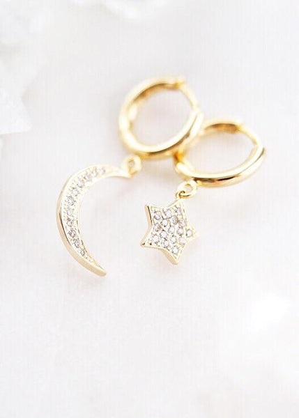 Gold Moon Star Hoop Earrings - Holopuni - Ke Aloha Jewelry
