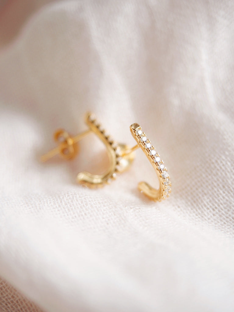 Earrings - Gold Pave J Stud Earrings - Hokuhelele'i - Ke Aloha Jewelry