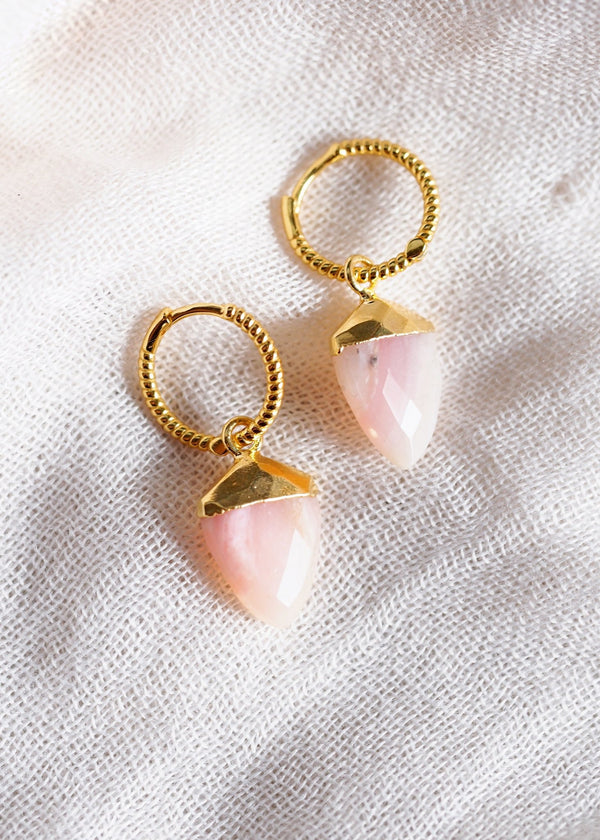 Earrings - Gold Pink Opal Shield Hoop Earrings - Akala - Ke Aloha Jewelry