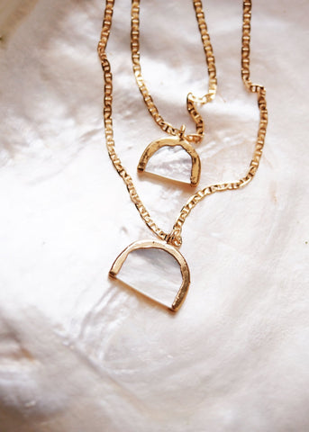 Gold Necklace - Gold Rainbow Mother of Pearl Shell Chain Necklace - Ānuenue - Ke Aloha Jewelry