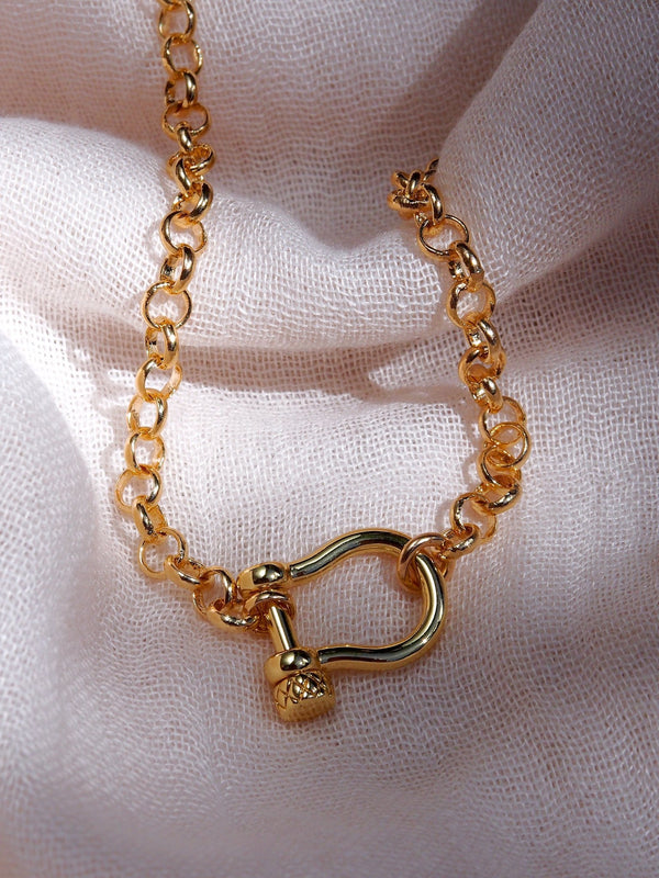 Gold Necklace - Gold Rolo Link Chain Necklace with Screw Clasp Lock - Keao - ke aloha jewelry