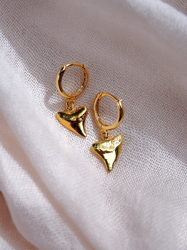 Earrings - Gold Shark Tooth Hoop Earrings - Nahu - ke aloha jewelry
