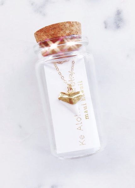Gold Necklace - Gold Shark Tooth Necklace - White - Bottled Mano Niho Kahi - Ke Aloha Jewelry